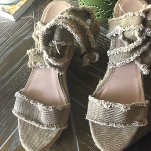 Candie's Wedge Sandals, Taupe. Worn twice!